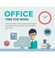 Clerk at Work infographic Office Table Designer vector image vector image