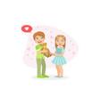 cute boy and girl smiling boy holding teddy bear vector image