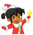 cute cartoon christmas afro-american or arab angel vector image vector image