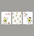 cute christmas cards with avocado in santa hat vector image vector image