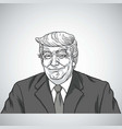 donald trump smiling portrait drawing vector image vector image