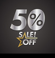 Fifty percent sale off with star vector image vector image