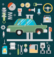 flat icons and repair of machines and equipment vector image vector image