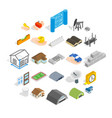 formation icons set isometric style vector image vector image