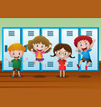 four kids standing by the lockers vector image vector image