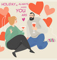 funny characters celebrate valentines day vector image