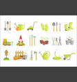 gardening equipment set of icons vector image vector image
