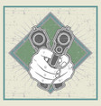 grunge style hand holding gun vector image vector image