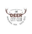 hand drawn deer vintage badge deer city club logo vector image vector image