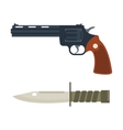 handgun and knife icon vector image vector image