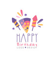 happy birthday logo design colorful creative vector image