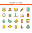 happy easter set of line icons vector image vector image