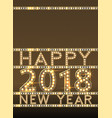 happy new year greeting card with bulb lamps gold vector image vector image