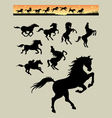Horse Running Silhouettes 1 vector image vector image