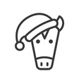 horse wearing santa hat outline icon editable vector image vector image
