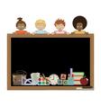 kids holding blackboard vector image