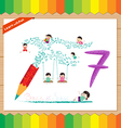 Kids playing with the number 7 vector image vector image