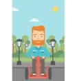 Man riding on electric scooter vector image