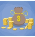 money bag and stacks gold coins vector image vector image