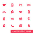 mothers day icon design concept set of 16 such vector image