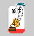 music tag with gramophone vector image vector image
