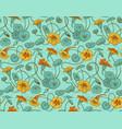 nasturtium pattern on turquoise vector image