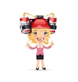 Office Girl with Red Beer Helmet on Her Head vector image vector image