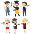people doing different jobs in restaurant vector image vector image