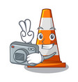 photographer the traffic cone with character shape vector image