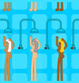 public bathhouse pattern woman in shower washes vector image vector image