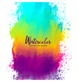 rainbow color watercolor splash stain background vector image