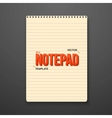 Realistic Notepad Office Equipment Element vector image vector image