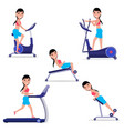 set cartoon girl doing sports on simulator vector image