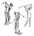 Set sketch golfer vector image vector image