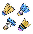shuttlecock icons set line color vector image vector image
