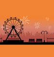 silhouette amusement park with firework scenery vector image vector image