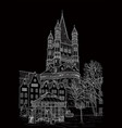 sketch of the cathedral of st martin vector image vector image
