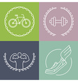 sport logos in outline style vector image vector image