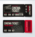two cinema tickets design template set vector image vector image