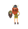viking holding head of his dead enemy in his hands vector image vector image