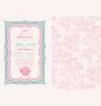 vintage tea invitation layout vector image