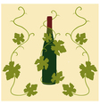 wine and grape leaves vector image vector image