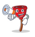 with megaphone plunger character cartoon style vector image vector image
