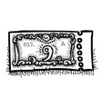 cartoon image of ticket icon raffle symbol vector image