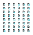 Document File blue and black icons vector image