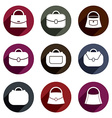 Bag icons set of 9 examples fashion theme symbols vector image