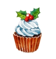 Christmas watercolor cupcake vector image