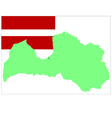 6209 latvian map and flag vector image vector image