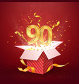90 th years number anniversary and open gift box vector image vector image