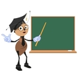 Ant teacher stands at blackboard vector image vector image